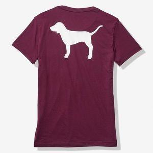 VS Pink Plum White Dog Logo Campus Tee